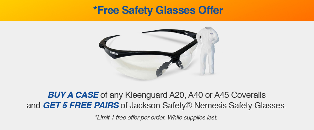 Get a Case of Coveralls and Get 5 Pairs of Safety Glasses on Us