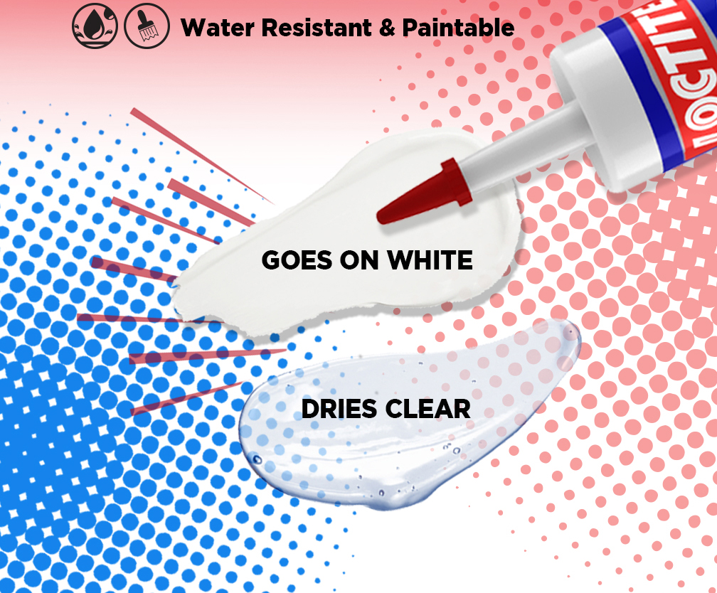 Water Resistant and Paintable - Goes on White - Dries Clear
